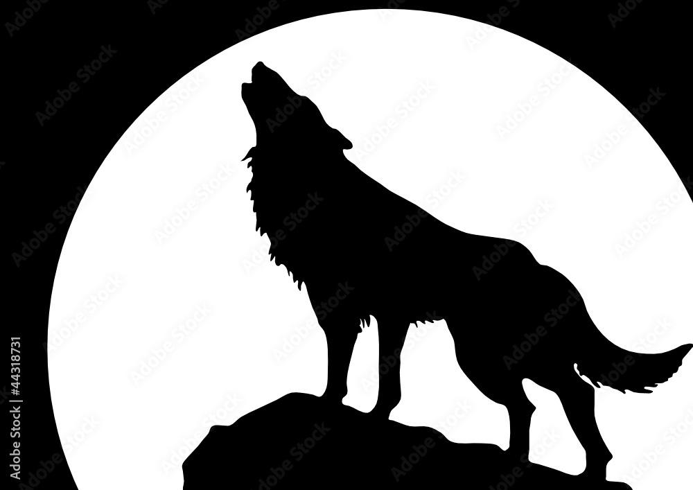 Fototapeta ścienna Lateksowa Wyjący Wilk Przed Księżycem