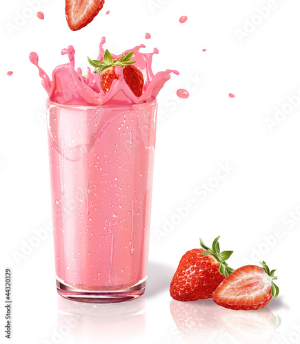 Tuinposter Milkshake Strawberries splashing into a milkshake glass, with two others o