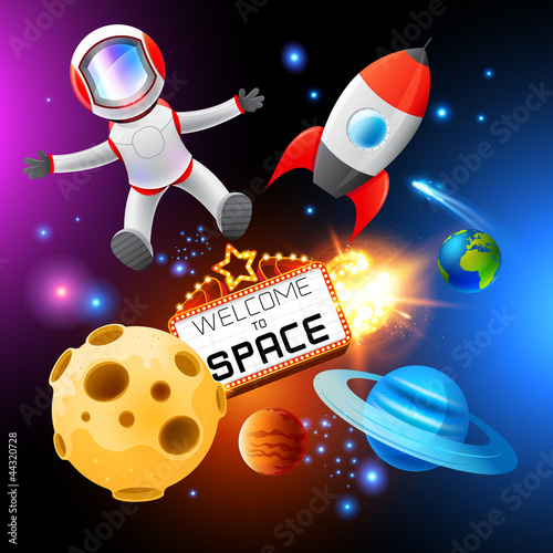 Deurstickers Kosmos Vector Space Elements