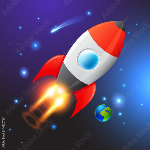 Spoed Foto op Canvas Kosmos Vector Space Rocket