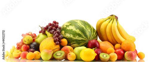Poster Fruit Assortment of exotic fruits isolated on white