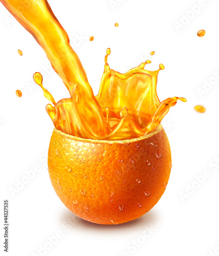 Crédence de cuisine en verre imprimé Eclaboussures d eau Orange fresh fruit cut in half, with an juice splash in the midd