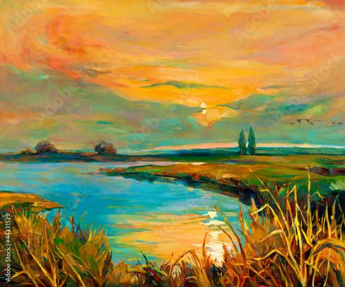 Fototapeta Sunset over lake