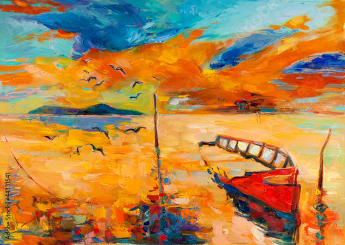 Ocean and fishing boat