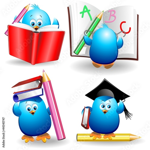 Photo sur Aluminium Draw Blue Chick Cartoon Back to School with pencils and Notebook