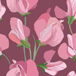 seamless pattern with lilac and pink flowers sweet peas