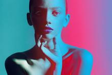 Close Up Portrait Fashion Color And Lights