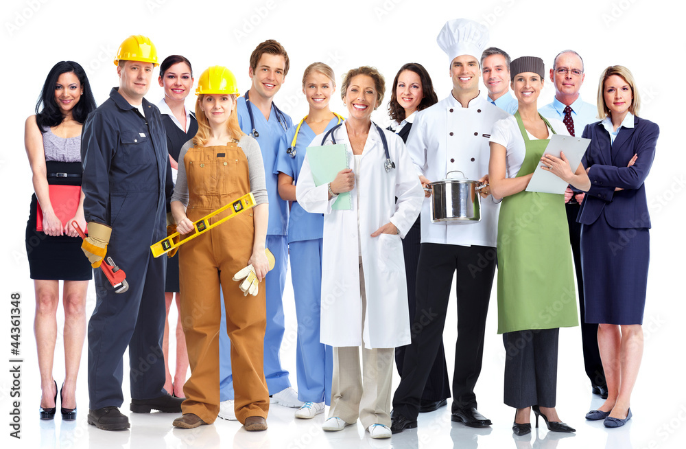 Fototapeta Group of industrial workers.