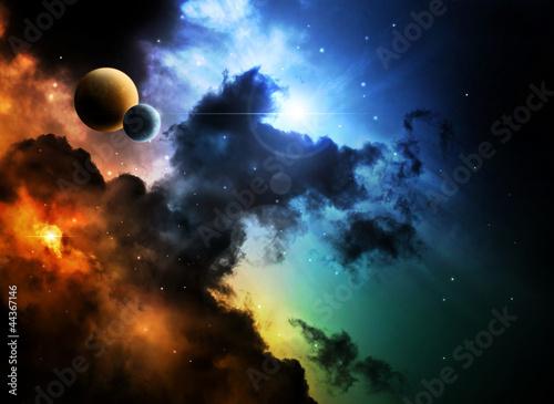 Naklejki kosmos fantazja-mglawica-przestrzeni-kosmicznej-z-planety