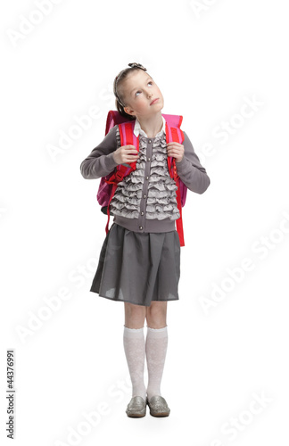 Pupil dreams to go to school, isolated Poster