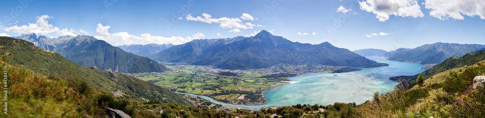 Fototapeta Panorama 180° bassa Valtellina - Alto lago di Como (Italy)