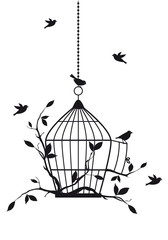 Panel Szklanyfree birds with open birdcage, vector