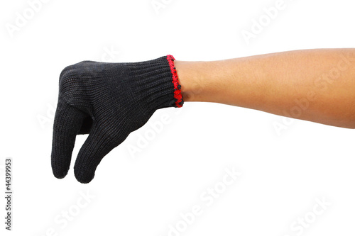 Papiers peints Rouge, noir, blanc Glove hand of a caucasian male to hold