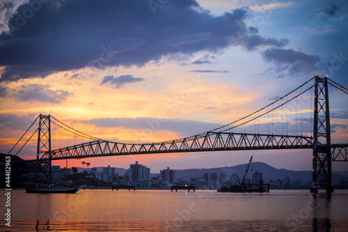 Papiers peints Pont Bridge in Florianopolis at Sunset