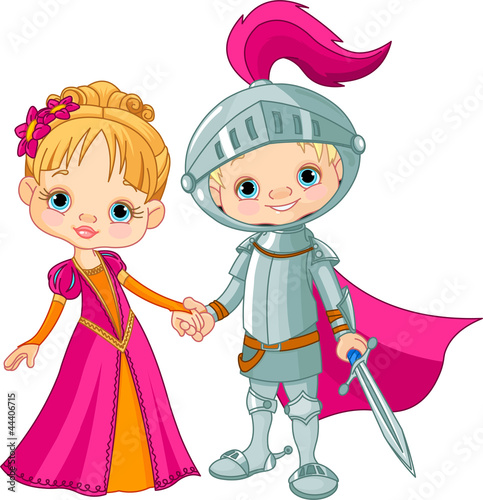 Ingelijste posters Ridders Medieval Boy and Girl
