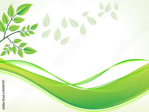Wall Murals Pistachio abstract green foliage with wave