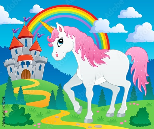 Foto op Canvas Pony Fairy tale unicorn theme image 2