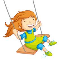 Vector Illustration Of  Baby Girl Swinging On Swing