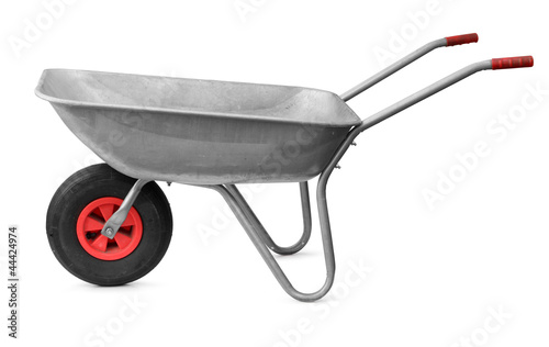 Fotografía  Wheelbarrow isolated on white
