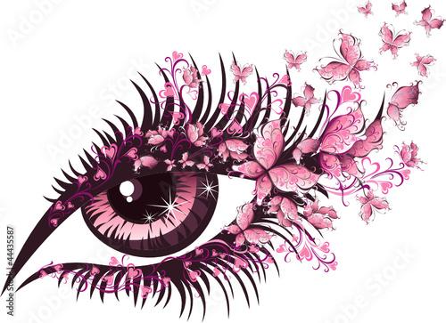 piekne-kobiece-rozowe-oko-z-motylkami
