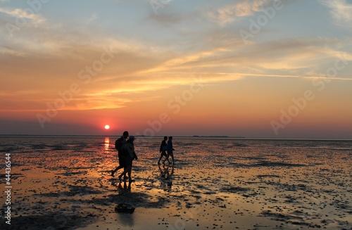 Spoed Foto op Canvas Noordzee Wattwanderung bei Sonnenuntergang