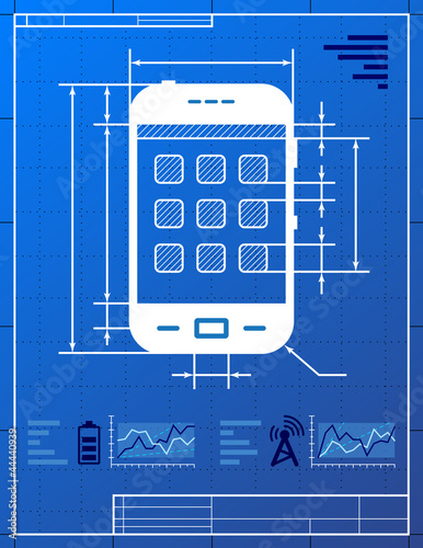 Stylized drawing of smartphone on blueprint paper buy this stock stylized drawing of smartphone on blueprint paper malvernweather Images