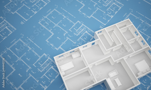 Fényképezés  Grundriss Erdgeschoss auf Blaupapier angeschnitten