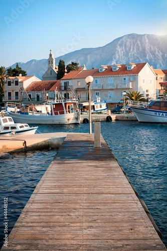 Tuinposter Pier Wooden pier on the island of Hvar