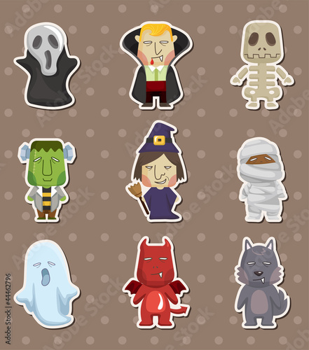 Poster de jardin Creatures Cartoon Halloween monster stickers