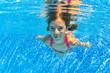 Happy underwater child in swimming pool,kids sport