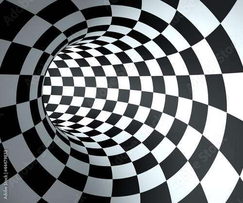 Abstract round checkered tunnel background. - 44479833