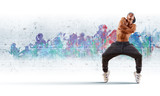 young man dancing hip hop with color lines - 44480105