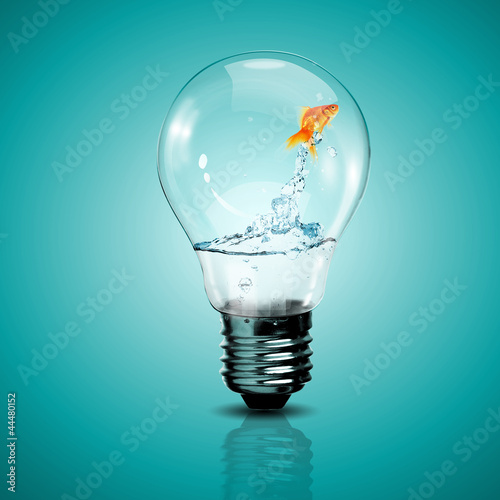 Fotografia, Obraz Gold fish inside an electric bulb