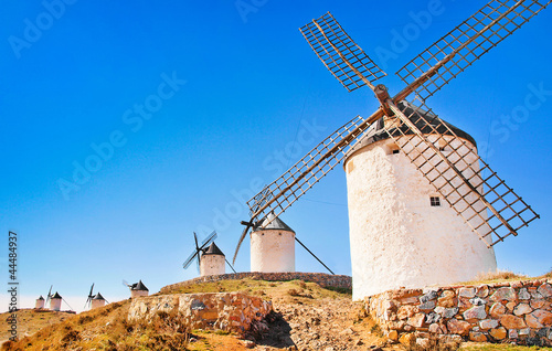 Famous windmills in Consuegra at sunset, Andalusia, Spain