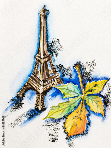 Recess Fitting Illustration Paris Eiffel Tower with chestnut leaf, watercolor with slate-pencil pa