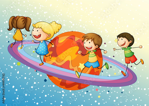 Foto op Canvas Kosmos kids on planet