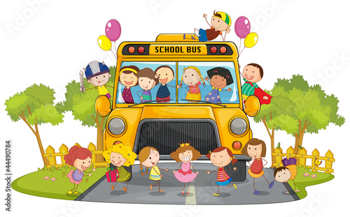 Foto op Aluminium Schepselen kids and school bus