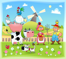 Naklejka Do przedszkola Funny farm family. Cartoon and vector illustration.