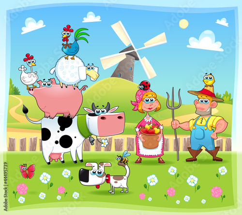 Photo sur Toile Ferme Funny farm family. Cartoon and vector illustration.