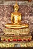 Golden buddhas in Thai temple (wat sutat)