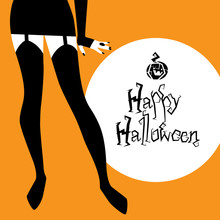 Halloween Background With Pretty Witch Legs / Vector