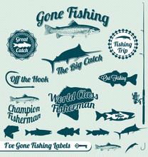 Vector Set: Gone Fishing Label...