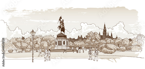Photo  Panorama of Vienna. Vector drawing.