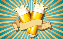 Beer Glass In Retro Background