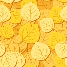 Seamless Pattern With Autumn Aspen Leaves. Vector EPS 8.