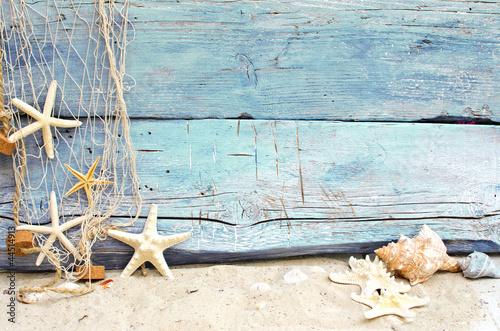 Valokuva  Strandgut vor blauem Holz mit Fischernetz