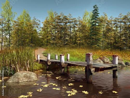 Keuken foto achterwand Molo nad jeziorem przy jesiennym lesie