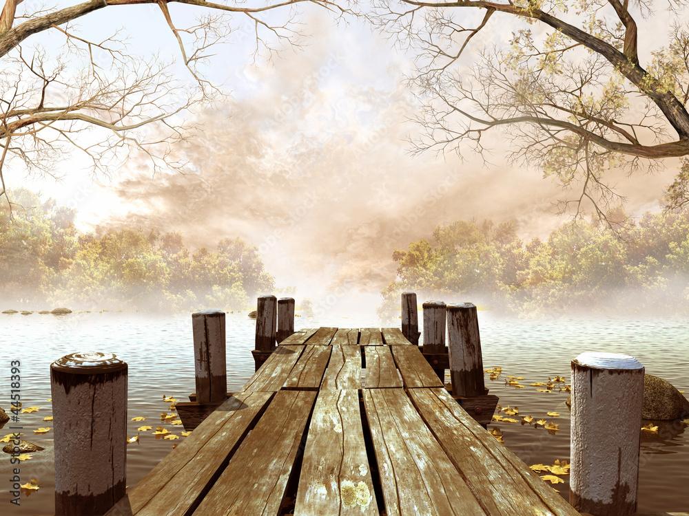 Fototapeta Jesienna sceneria z drewnianym molo na jeziorze