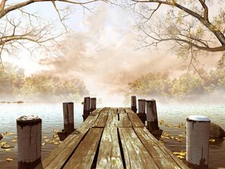 Obraz na Szkle Do jadalni Jesienna sceneria z drewnianym molo na jeziorze