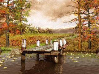 Panel Szklany Jesienna łąka i molo nad jeziorem